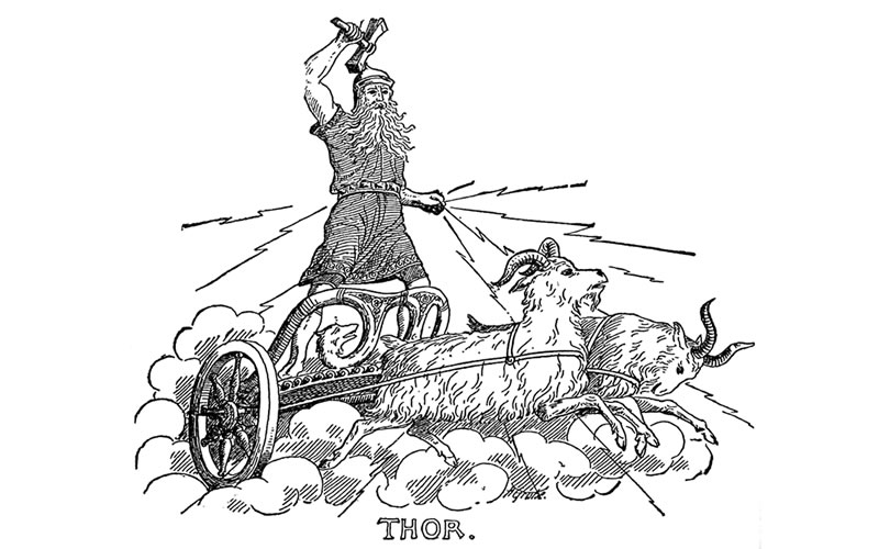Thor carried by his Goats, Tanngrisnir and Tanngnjóstr